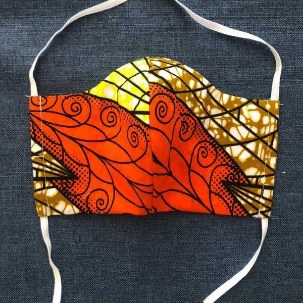 African Orange Fabric Face Mask