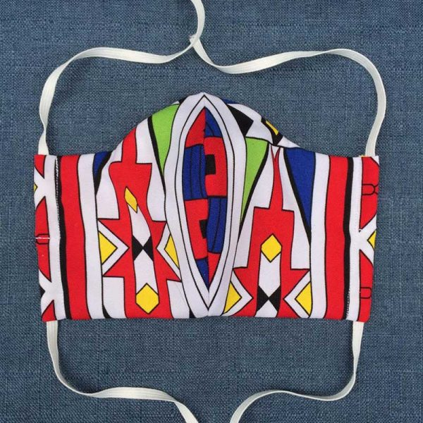 Red Ndebele Face Mask for Covid-19