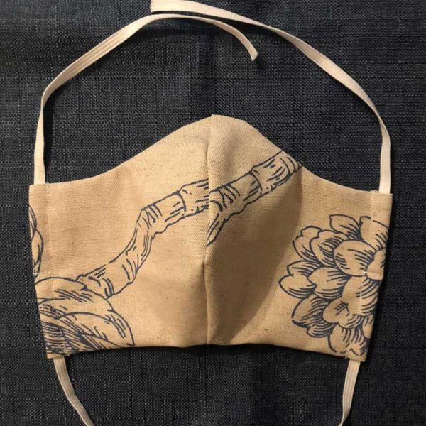 Beige Blue Print Fabric Face Mask for Covid-19